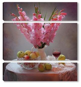 Модульная картина Гладиолусы я яблоки