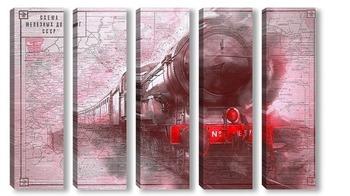 Модульная картина Старинный поезд