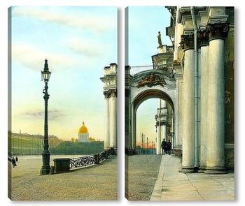Модульная картина Санкт-Петербург. Эрмитаж (бывший Зимний дворец) частичный вид на вход Дворцовой площади