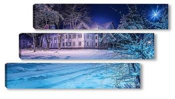 Модульная картина Старое жилое здание ранним зимним утром окружено присыпанными снегом деревьями и дорожными знаками.
