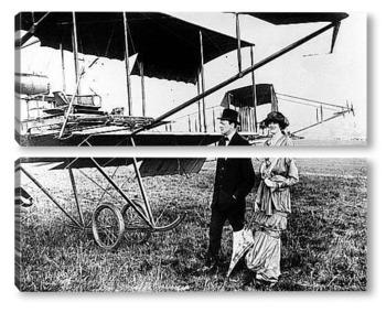 Модульная картина Черчиль с женой Клементиной в Хендоне у одного из первых самолёт