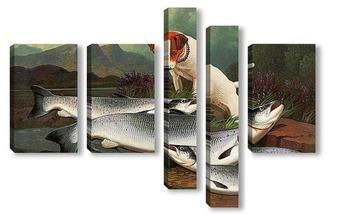 Модульная картина Терьер и три лосося