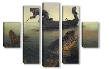 Модульная картина На дальних забросах ловится крупная рыба