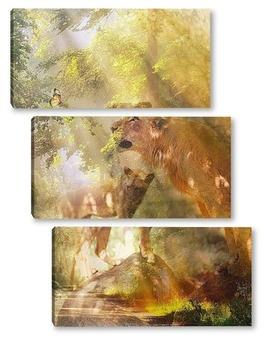 Модульная картина Пара львов