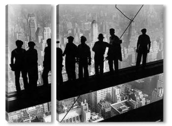 Модульная картина 1932: Строители на железной скобе на строительной площадке Эмпайр-Стейт