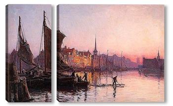 Модульная картина Вид Копенгагена с башней фондового рынка.