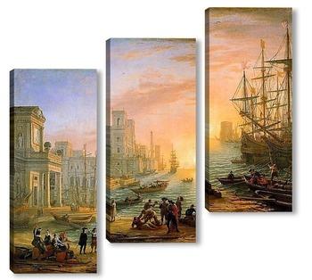 Модульная картина Морская гавань при закате дня