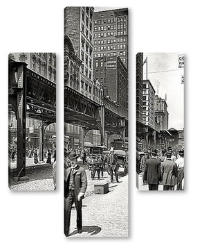 Модульная картина Уобаш авеню и транспортный мост, 1907