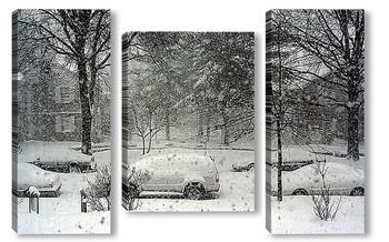 Модульная картина Первый снег в Нью-Йорке
