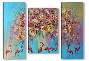 Модульная картина Красный фламинго