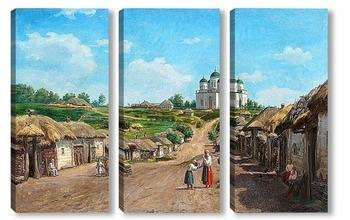 Модульная картина Деревенская сцена
