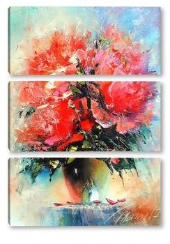 Модульная картина Цветы страсти.