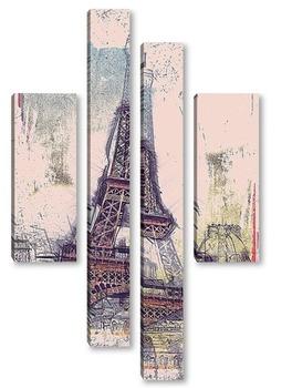 Модульная картина Эйфелева башня