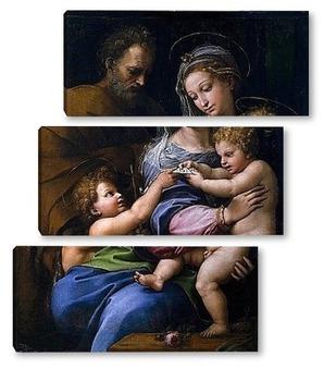 Модульная картина Святое семейство с маленьким Иоанном Крестителем