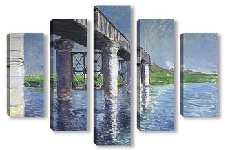 Модульная картина Сены и железнодорожный мост в Аржентее