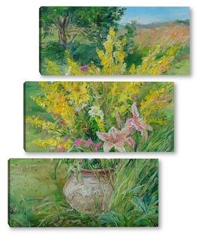 Модульная картина Букет с лилиями
