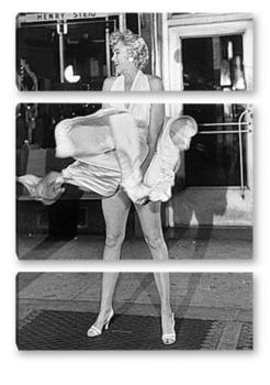 Модульная картина Мерлин Монро удерживающая платье.