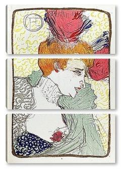 Модульная картина Мадемуазель Марсель Лендер,с обнаженной грудью