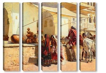 Модульная картина Уличный Рынок, Индия