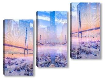 Модульная картина мост через реку Янцзы в городе Нанкин