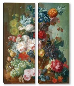 Модульная картина Фрукты и цветы в керамической вазе