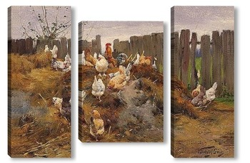 Модульная картина Курицы во дворе