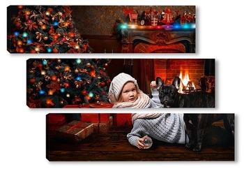 Модульная картина Вечер у новогодней елки