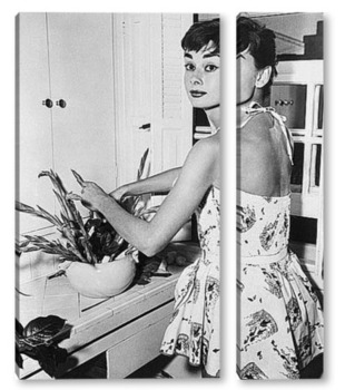 Модульная картина Одри Хёпбёрн на кухне,1954г.