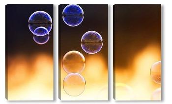 Модульная картина нарядный фон из прозрачных мыльных пузырей на закате