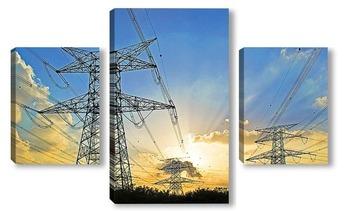 Модульная картина Электрические столбы
