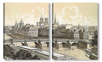 Модульная картина Город и Новый мост