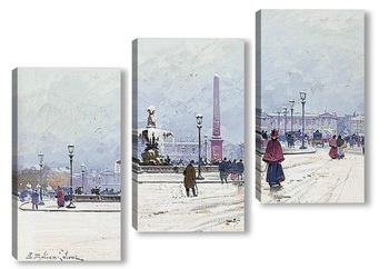 Модульная картина Площадь Согласия под снегом
