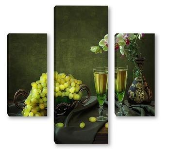Модульная картина С орхидеей и виноградом