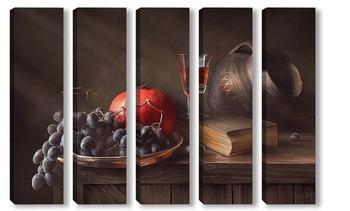 Старинный сосуд и фрукты