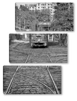 Модульная картина Old tram. Пенсионер.