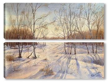 Модульная картина Белорусский снежный лес