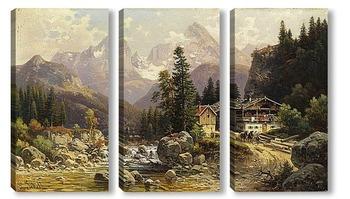 Модульная картина Альпийский пейзаж с мельницей
