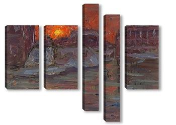 Модульная картина Закат в Стокгольме