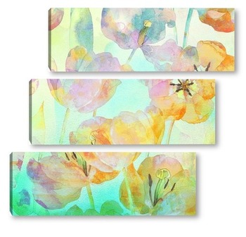Модульная картина Акварельные тюльпаны