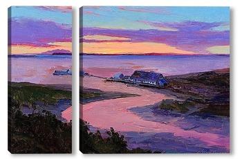 Модульная картина Раннее утро. Аляска. Анкоридж консервный завод