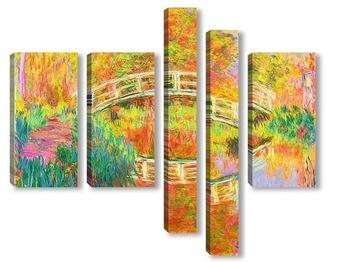 Модульная картина Японский пешеходный мост, Живерни