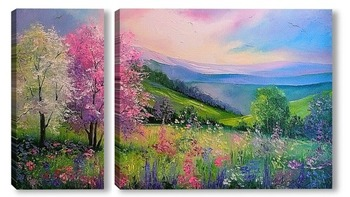Модульная картина Весна в Карпатах