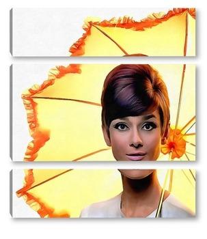 Модульная картина Девушка с зонтиком