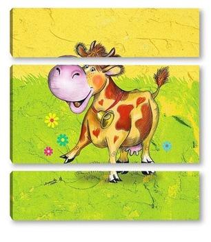 Модульная картина Корова Бурка