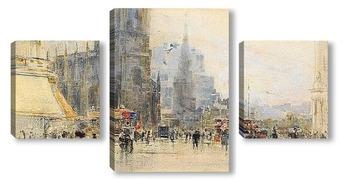 Модульная картина Эдинбург, угол Принцесс-стрит и Лотиан-роуд