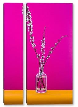 Модульная картина Натюрморт с ветками цветущей абрикосы