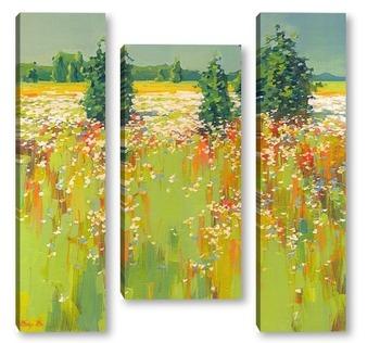 Модульная картина Цветочная поляна