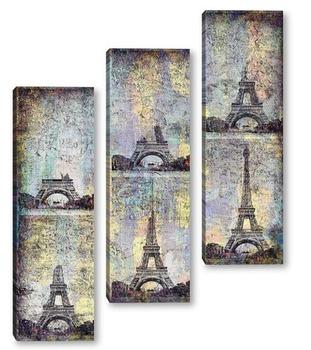 Модульная картина Коллаж Эйфелева башня