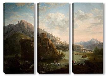 Модульная картина Горный пейзаж с замком и фигурами рядом с рекой