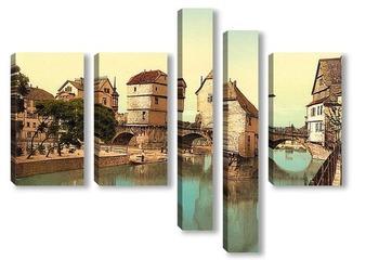 Модульная картина Мост, дома, Рейнская Пруссия, Германия. 1890-1900 гг